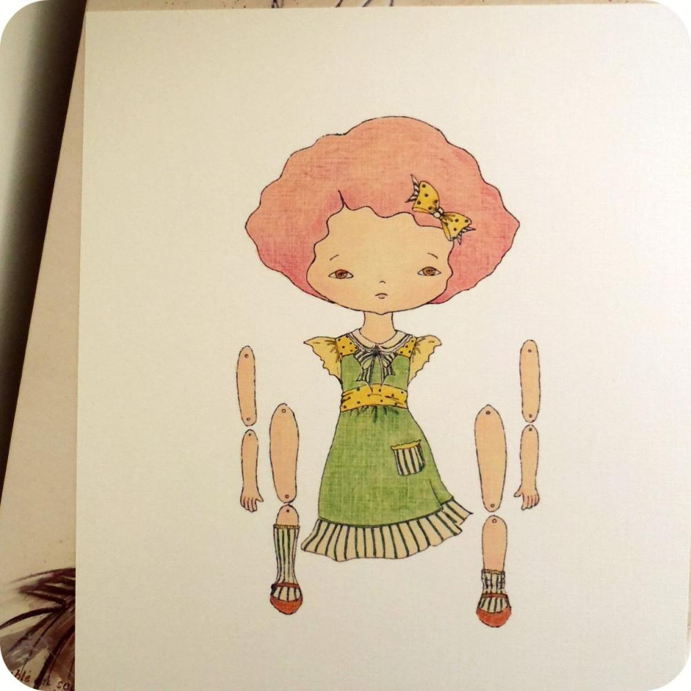 Raspberry - Articulated Paper Doll Print